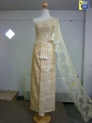 ชุดไทยเจ้าสาวแต่งงาน ผ้าแขกสีทอง