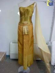 ชุดไทยแบบประยุกต์โทนสีทอง