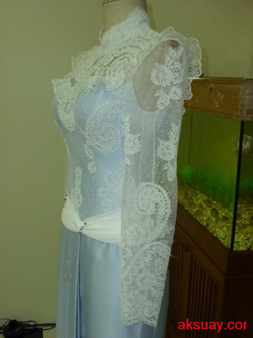 ชุดไทยย้อนยุค ร.5 แบบประยุคต์ลูกไม้ เจ้าสาววินเทจแต่งงานย้อนยุค