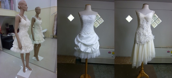 เดรสสั้นเจ้าสาว แบบชุดหมั้นไทยๆ ชุดไปงานแต่งงาน
