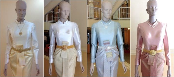 ชุดไทยบรมพิมาน สีสวยๆ ชุดไทยตักบาตร สียอดนิยม ชุดงานเช้า ชุดไทยแขนยาว ชุดเจ้าสาว น่าเลือก น่าใช้
