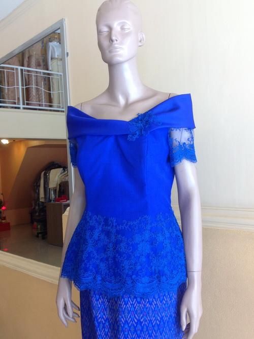 ชุดไปงานแต่งงาน แม่เจ้าสาว ผ้าไหม สีน้ำเงิน (Royal Blue)