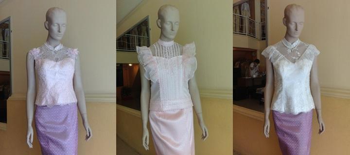 เสื้อลูกไม้ ผ้าถุง แบบชุดไทย ชุดไปงานบุญ ชุดไปงานแต่ง