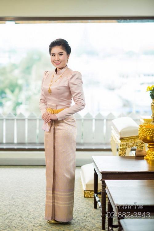 ชุดไทยบรมพิมาน สีชมพู กลีบบัว thai boromphiman